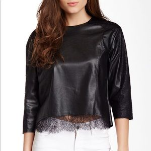 Faux Leather & Lace Top